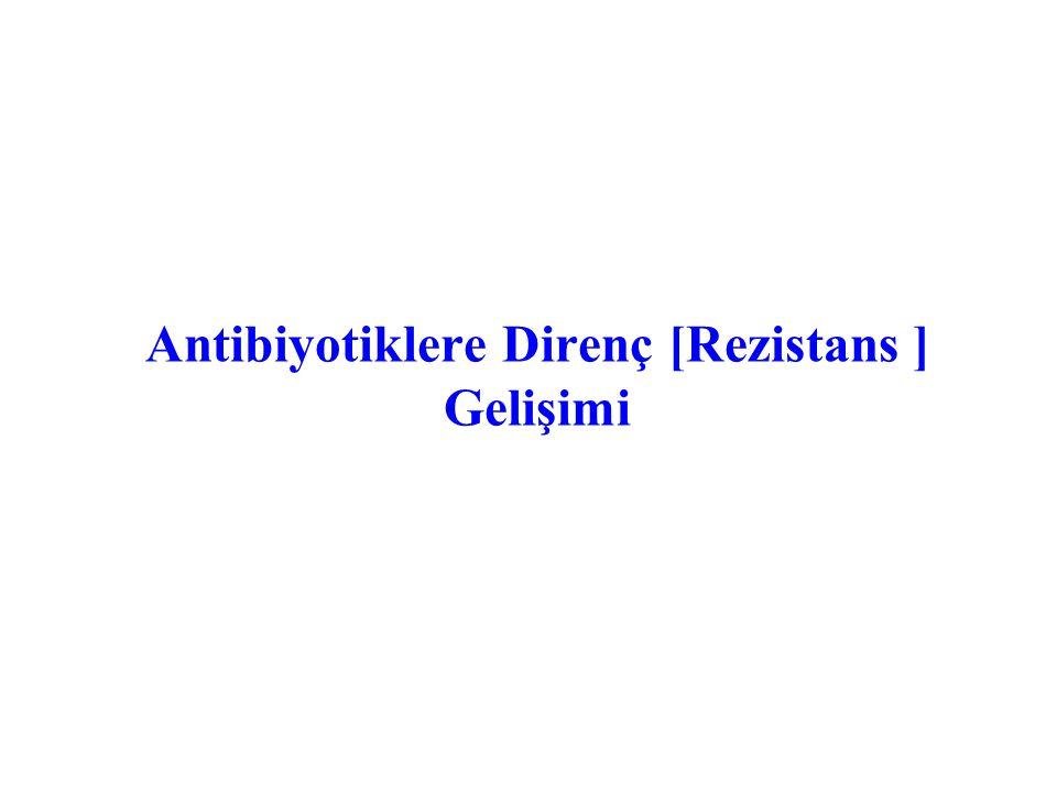 Antibiyotiklere Direnç [Rezistans ] Gelişimi